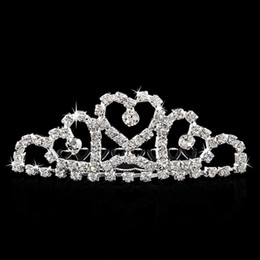 All'ingrosso-Mini scintillio strass Diamante sposa principessa corona capelli pettine clip di capelli Tuck Tiara Wedding Wedding da
