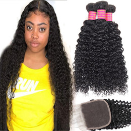 kinky straight hair weave Coupons - 8A Brazilian Virgin Human Hair 3 Bundles With 4X4 Lace Closure Kinky Curly Loose Wave Deep Wave Body Wave Straight Brazilian Virgin Hair