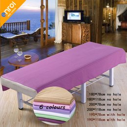 beauty bedding Promo Codes - Beauty Salon Spa Massage Bed Sheet 80x190 120x190cm 100% Cotton Plain Flat Sheet Table Cover Bed Sheets With Hole
