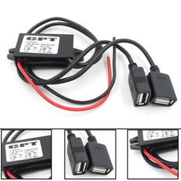 2019 12v usb mount Новый Двойной 2 USB DC-DC Автомобильный Преобразователь Модуль Кабель с входным отверстием для монтажа DC 12V К USB Ouput 5V 3A 15W Адаптер питания скидка 12v usb mount