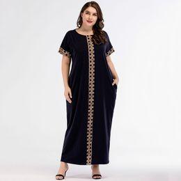 2019 abiti americani cinesi Maxi vestito dalla stampa casuale Lavorato a maglia musulmano Abaya Full Skrit Kimono sciolto Abito lungo Robe Ramadan Abbigliamento arabo islamico mediorientale