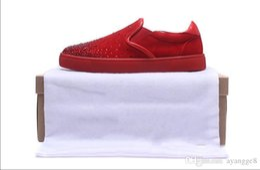 2019 zapatos al por mayor para la boda Negro al por mayor de hombres y mujeres zapatos unisex Red Bottom Sole Sneakers Party Wedding Shoes Genuine Leather High top Studded Spike zapatos al por mayor para la boda baratos