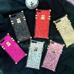 Teléfono secreto online-Funda cuadrada de lujo 3D para iPhone 8 7 6 6s Plus X Xs Max Xr Shiny Gold Pink Soft Silicone Fashion Secret Glow Phone Case Coque