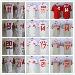 2019 Homem Mulheres Juventude Ci Vermelhos Jersey 11 Barry Larkin 14 Pete Rosa 17 Chris Sabo 20 Frank Robinson 21 Deion Sanders Costurado Jersey De Beisebol de