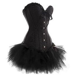 2019 erwachsene sexy nacht tragen Fashion Damen Gothic Vintage Lace Trim Korsett Kleid mit Mini TuTu Rock Halloween Clubwear Kostüm Plus Größe Gothic Bustier