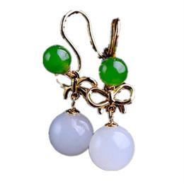 Orecchini di giada naturale online-New S925 Orecchini in argento con giada bianca naturale intarsiata in argento per il regalo di San Valentino con certificato