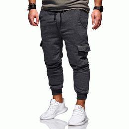 Calças multi coloridas on-line-2019 ginásio Nova Moda Tendência dos homens New Casual Moda Pure Colorida Amarrado Multi-bolso Calças Esportivas calças de ginástica