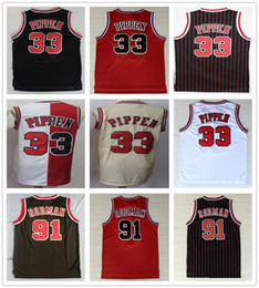 Uniformes de basketball blanc rouge noir en Ligne-Cousu Hommes Scottie 33 Pippen Jersey Black White Red Beige Team Couleur Dennis 91 Rodman Jerseys College Basketball Chemises Uniformes