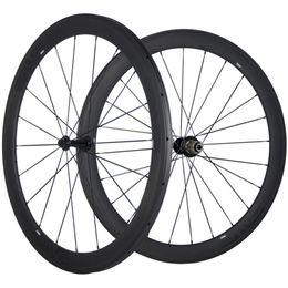 bicicleta de ciclocross de carbono Rebajas Juego de ruedas de carbono de 50 mm Profundidad 25 mm Ancho de carbono Ruedas bici del camino 700C del remachador / tubular / sin cámara UD mate Ruedas