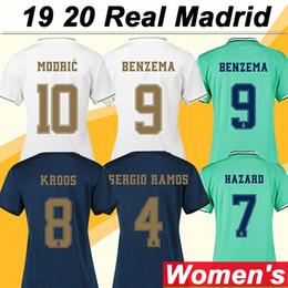 Uniforme de fútbol femenino online-19 20 Real Madrid Mujer HAZARD MODRIC Camisetas de fútbol Nuevo SERGIO RAMOS KROOS BENZEMA MARCELO Camisetas de fútbol del hogar lejos de casa ISCO BALE Uniformes