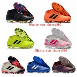 2018 chuteiras de futebol original Nemeziz 18 + FG mens sapatos de futebol baratos botas de futebol de couro de alta tornozelo ao ar livre scarpe da calcio Hot cheap cheap leather ankle boots de Fornecedores de botas de couro barato