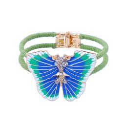 aufklappbare armbänder Rabatt ZWPON Scharnier Seil Wrapped Emaille blauer Schmetterling Armband-Armbänder Lila Schmetterlings-Kristallarmbänder Weihnachtsgeschenke Wholesale