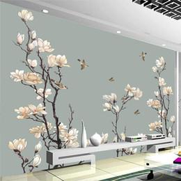 2019 dipinto di magnolia Carta da parati in stile cinese Magnolia dipinta a mano Fiori Uccelli Murales Soggiorno TV Studio Decorazioni per la casa Affresco di Papel De Parede sconti dipinto di magnolia