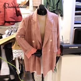 cappotti di colore rosa Sconti S - XXL Pink Colour Blazer da donna Primavera Autunno Colletto con intaglio Office Lady Blazer formale Cappotto lungo manica lunga scozzese