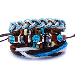 weißes knotenarmband Rabatt 3 Teile / satz Vintage Boho Punk Braun Wrap Leder Sea Blue White Cord Knoten Facettierte Kristall Charme Schichten Armbänder Armreifen Unisex