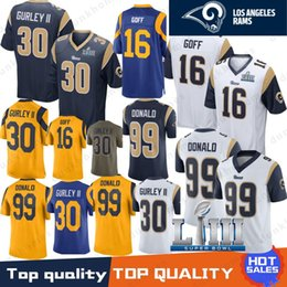 Jerseys de fútbol cosido online-30 camisetas de Todd Gurley 16 Jared Goff Los Angeles Rams 99 Aaron Donald 2019 Super Bowl LIII camisetas de fútbol Bordado Logos 100% cosido