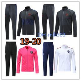 mangas de la chaqueta Rebajas Nueva chaqueta de fútbol 2019 2020 Psg Survetement 19 20 París maillot de foot MBAPPE CAVANI manga larga Cremallera completa conjunto de chaquetas de fútbol
