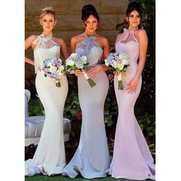 2019 vestidos de moda marfil 2019 encantadora tul sirena vestidos largos de dama de honor sexy escote halter sin espalda vestidos de fiesta de boda por encargo