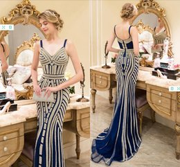 9ded4241828 Luxury Spaghetti Mermaid Party Dresses Newest Beaded Crystal Sexy Party  Fitted Prom Dresses Evening Gowns Formal Gowns Custom Made DH128