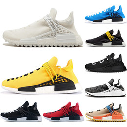 Scarpe di runing a buon mercato online-2019 New Cheap Luxury Human Race NMD Scarpe da corsa Uomo Donna Solar Pack Nero Giallo PW HU HOLI Pharrell Williams Designer Sport Sneakers