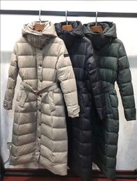 casacos de inverno equipados para mulheres Desconto NEW CLAASIC! Mulheres inverno quente X-long estilo para baixo casaco / grande qualidade marca 90% pato branco para baixo slim fit espessura para baixo casaco B69010 S-XL