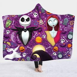 9 Styles Nightmare Before Christmas Coperta con cappuccio in peluche stampata 3D per adulti Kid Warm Wearable Fleece Coperte personalizzate da