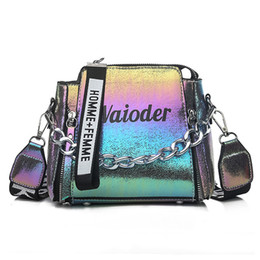 multi compartment handbags Promo Codes - Laser Women Letter Shoulder Bag INS Popular Female Handbag Holiday PU Messenger Bags For Lady Design Exquisite Crossbody Bucket