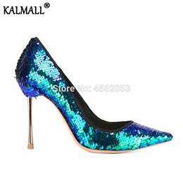 zapatos atractivos de la boda femenina Rebajas KALMALL Rainbow Sequined Bling traje de boda bombas de lujo Glitter zapatos Mujer Slip On punta estrecha Sexy Stiletto tacones altos