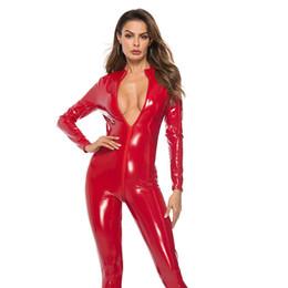 Mamelucos de cuero online-# 2163 Mono de piel sintética Mujer Negro Rojo Rosa Abierto entrepierna PU Mono de cuero con cremallera Más el tamaño 3XL Pole Dance Rompers