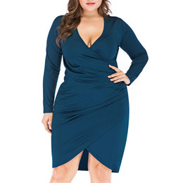 sexy working out clothes Promo Codes - Women Plus Size Vintage Party Dress Spring Solid Big Size Dress Work Clothes Slim High Waist Bodycon Slim Ladies Dresses Clothes