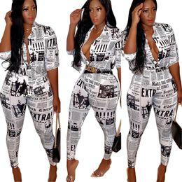 2019 mujer nuevo periódico de verano letra blusas camisas lápiz pantalones traje de dos piezas conjunto traje de chándal vintage desde fabricantes