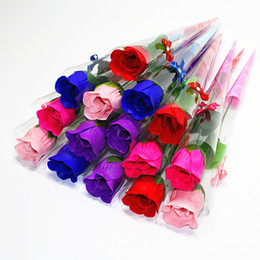 bagni romantici di fiori Sconti Bath Roses Soap Flowers Creativo Romantico con Bomboniere Rose Sapone Fiori per Regali di San Valentino Regali per la Festa della mamma