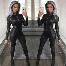 2019 combinaison en cuir MUXU noir en cuir PU body sexy barboteuses femmes combinaison corps mujer combinaisons à manches longues vêtements streetwear une pièce combinaison en cuir pas cher