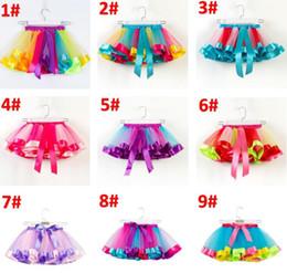 Saias de bolha do bebê on-line-2-11 anos crianças roupas de grife meninas tutus rainbow color baby girl tutu saias crianças linda bolha saia bebês bolo camada vestido BY0986
