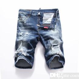 Logotipo do patch on-line-Calças de brim dos homens rasgadas curto remendo rasgado jeans curto marca D2 desenhos casual verão logotipo padrão respirável rasgado denim shorts D80DSQ