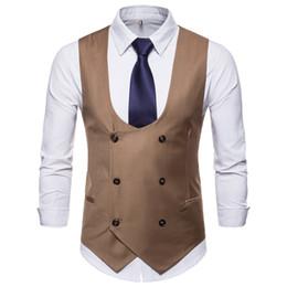 chaleco de remo Rebajas Nuevo tipo para hombre Puro Clip de botón de doble fila Venta caliente Hombre cuello en U Color puro Chaleco de ocio Botón de doble fila Hombres de gran tamaño chaqueta