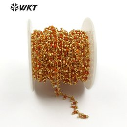 Измерительная цепь онлайн-WT-RBC096 Natural Red A gate  With Brass Wire Wrapped Rosary Chain Necklace DIY Jewelry Findings 3mm Sold By Meter