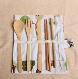 2019 keramik-gabel löffel-set Umweltfreundliches Bambusbesteck-Besteckset 20-teiliges tragbares Bambusstroh-Besteckset mit Taschenmessern Gabellöffel 7-tlg./Set
