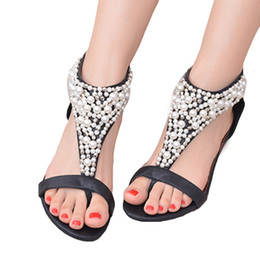 74e45ef3b170 Summer Women Shoe Sandals Open Toe lustre Rhinestone Zipper Pearl Beaded  Wedges Sandals Women Shoes High Heel Studded