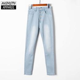 Тощая одежда онлайн-Anspretty Apparel 2019 пуговицы с высокой талией джинсы женские эластичные брюки карандаш карандаш узкие джинсовые брюки женские модные брюки