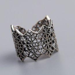 Anelli in argento sterling a banda larga online-gioielli di lusso S925 anelli in argento sterling pizzo scava fuori banda anelli spalancati per le donne moda calda