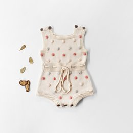polka dot rompers Promo Codes - Toddler Baby Girls Rompers INS New Autumn Infant Polka Dots Knitting Jacquard Vest Jumpsuit Kids Girls Sweater Bodysuit Babies Oneise 0-2T