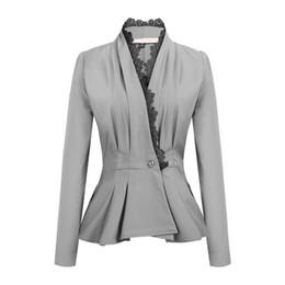 Chaqueta de encaje mujer online-Capa de la chaqueta de las mujeres del ajuste del cordón del negocio de un botón de manga larga delgada de la chaqueta de Peplum Blazer