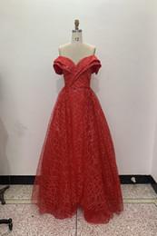 Robes de bal rouge sirène en Ligne-Épaule Robe de soirée sirène rouge vif et détachable Longue Traîne Robes de Bal 2019 Dubaï Robes de Soirée Turques