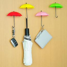 Llaves decorativas ganchos online-Paraguas en forma de ganchos de pared 3 unids / set Dual Key Hanger Rack Holder para cocina habitación baño pared organizador decorativo WX9-1469