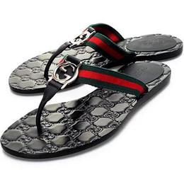 Catene a catena online-Sandali firmati da donna di alta qualità Infradito in vera pelle di lusso Catene in metallo Scarpe da spiaggia estive Pantofole moda con taglia 35-45