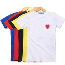 Shirts livraison gratuite en Ligne-Femmes Rouge Coeur Imprimé Couleur Unie Casual T-shirts D'été Femme Col Ras Du Cou Tees À Manches Courtes Tops Livraison Gratuite