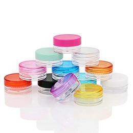 Muestras de perfume botellas de plástico online-Envase cosmético vacío de plástico jarritos Agentes cosméticos tarros olla con tapa para Cremas muestra de perfume de bricolaje caja de botellas vacías sólido 3g 5g FFA1765-1