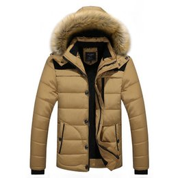 9b2ee1bb72d82 2018 Men Winter Jackets Coats Black Warm Down Jacket Outdoor Hooded Fur  Mens Thick Faux Fur Inner Parkas Plus Size Famous Brand L-4XL