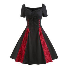 più abiti neri Sconti 2019 vestito delle nuove donne Rosso e nero Plus Size sexy grandi dimensioni Gothic Lace Rockabilly Evening Prom Swing Punk Dress l19118